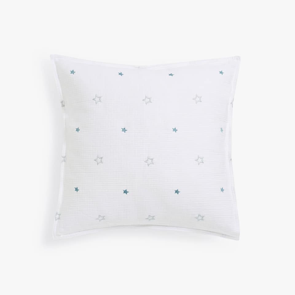 TWO-TONE CUSHION COVER WITH EMBROIDERED STARS