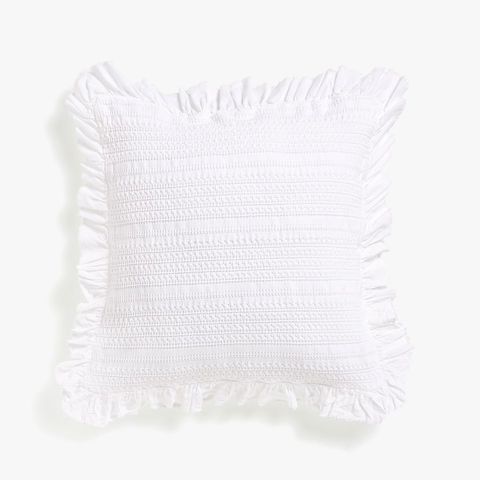 FLOWING COTTON CUSHION COVER WITH FRILL