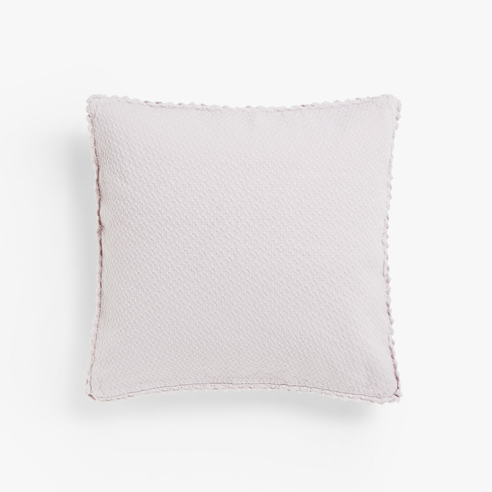 COTTON CUSHION COVER WITH LACE-TRIMMED BORDER