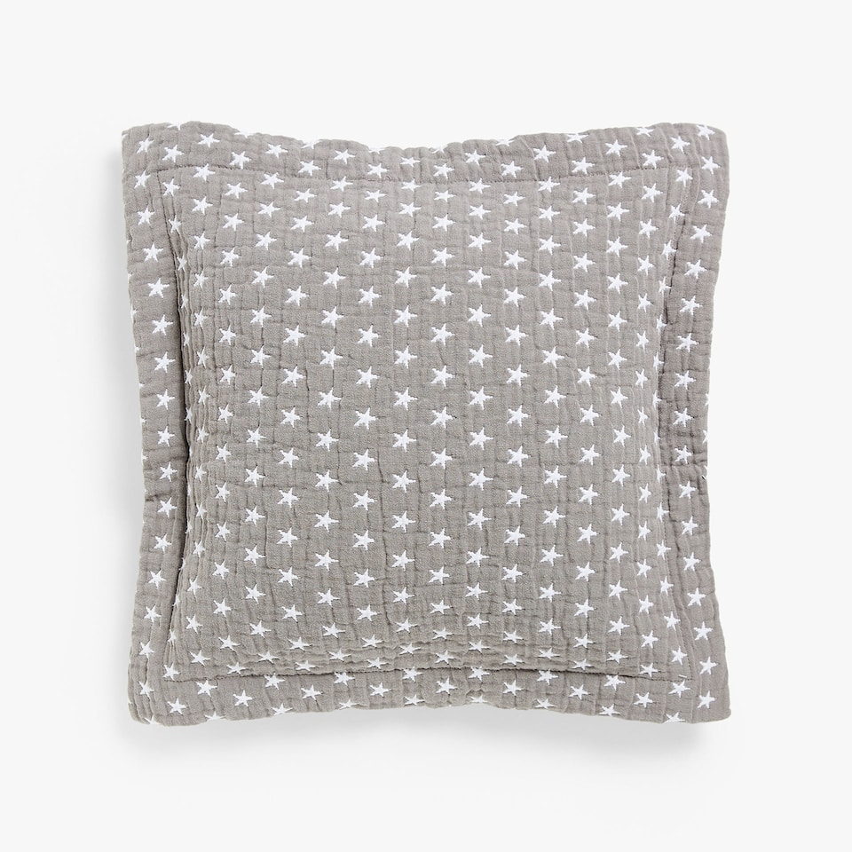 CUSHION COVER WITH WHITE STAR PRINT