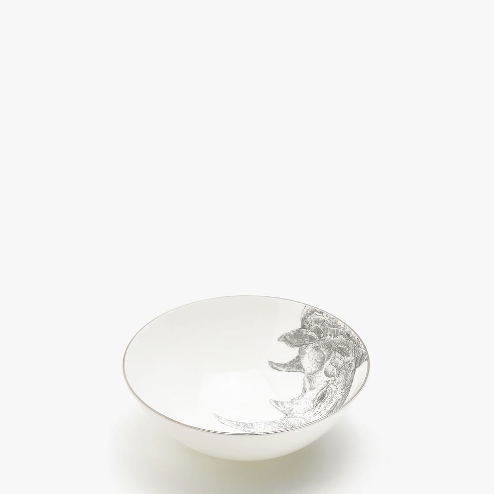 BONE CHINA RHINOCEROS PRINT BOWL