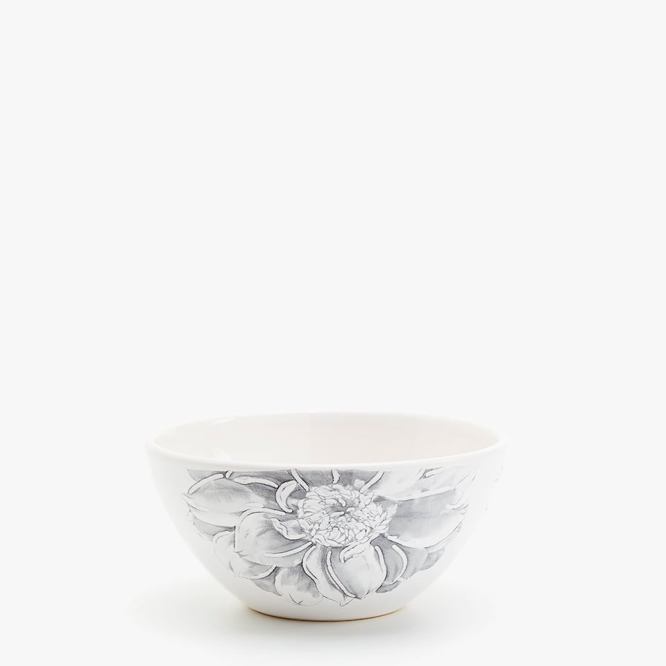 EARTHENWARE BOWL WITH TEXTURED TRANSFER