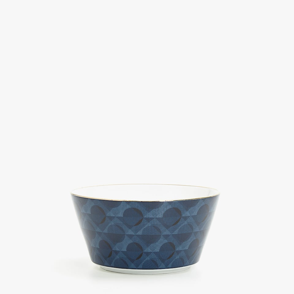 GOLD-RIMMED BOWL WITH TRANSFER