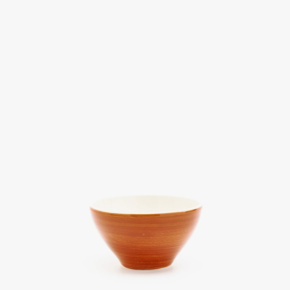COGNAC EARTHENWARE MINI BOWL WITH SPIRAL DESIGN