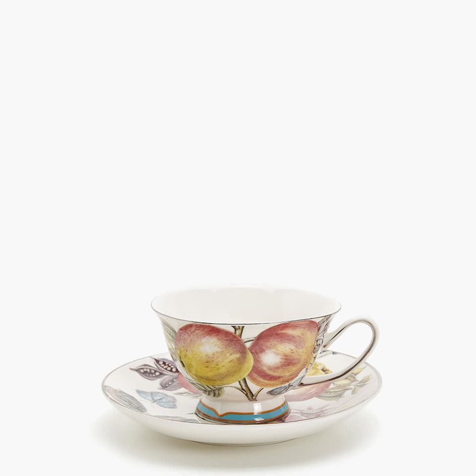 TAZA TE + PLATO VAGUE PORCELANA