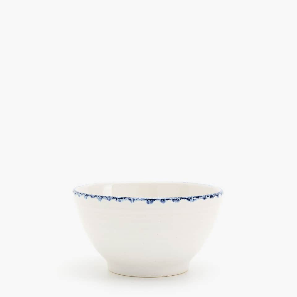 SPECKLED BLUE-RIMMED EARTHENWARE BOWL
