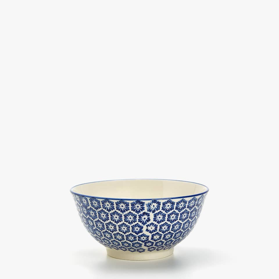 HAND PRINTED PORCELAIN BOWL
