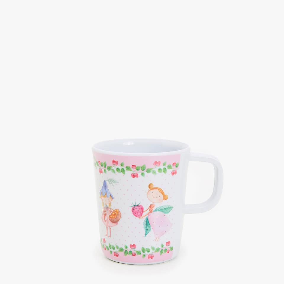 Girls and fruit print mug