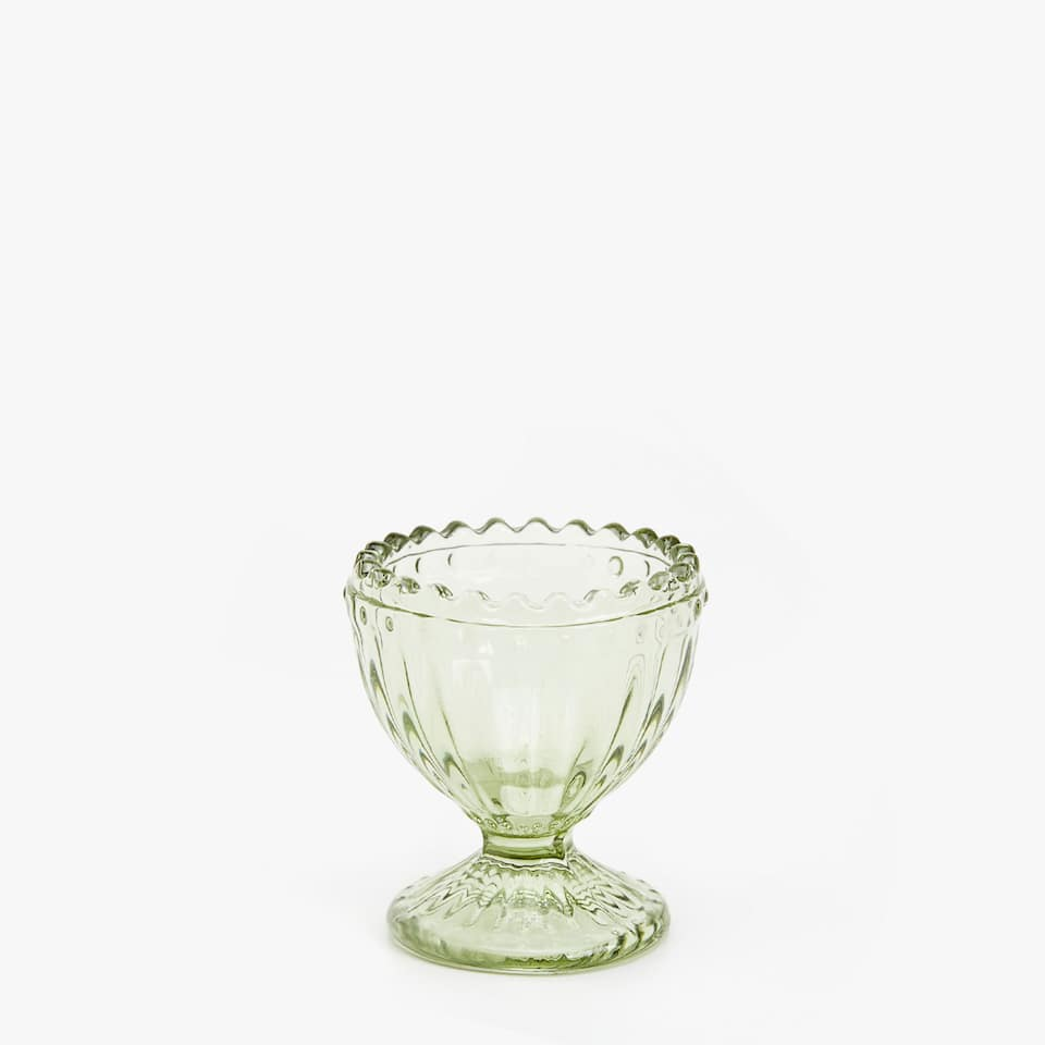 COLOURFUL ENGRAVED GLASS EGG CUP