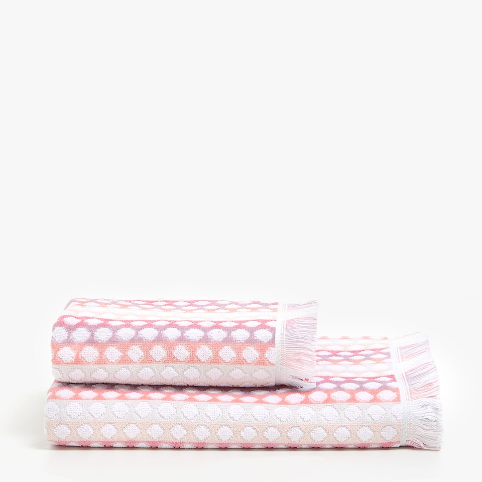 PINK STRIPED AND POLKA DOT TOWEL