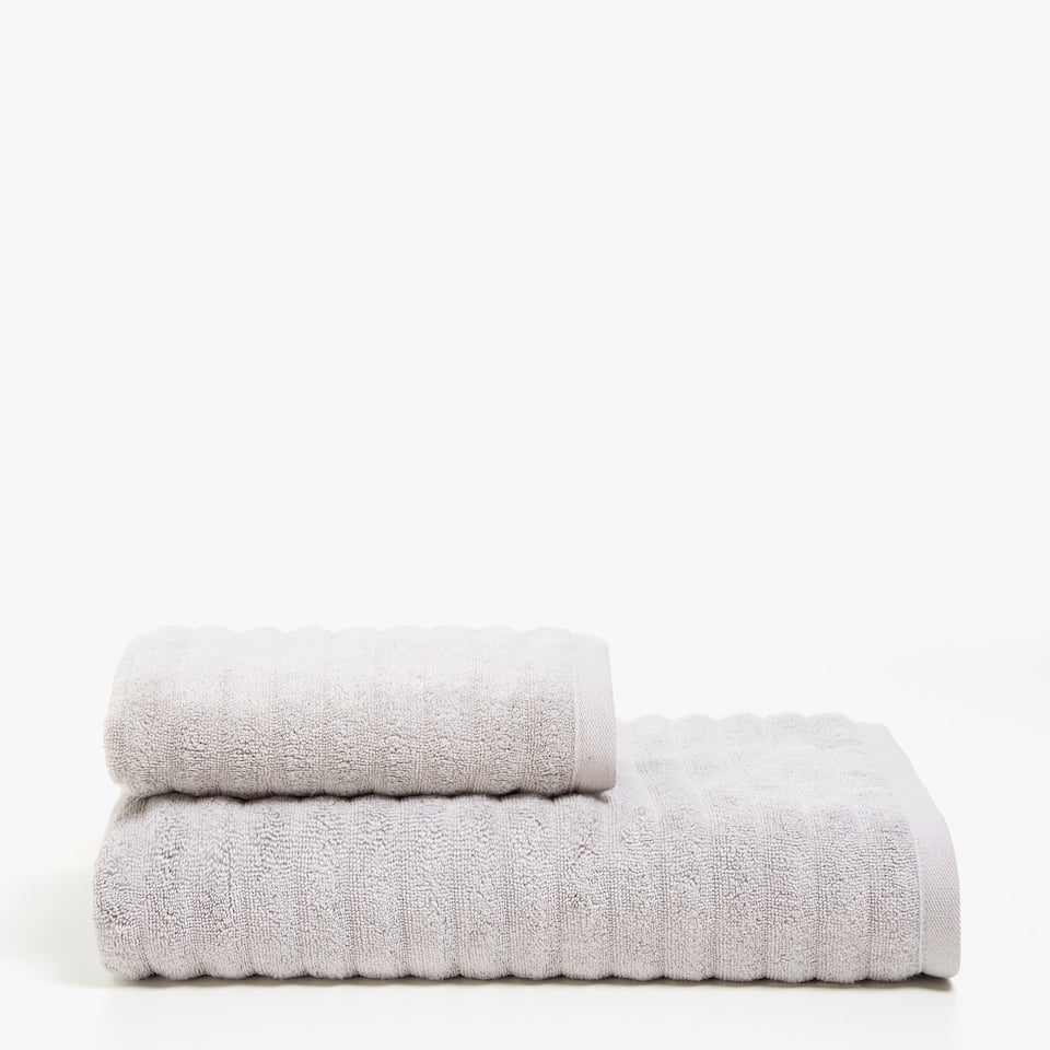 STRIPED TEXTURED COTTON TOWEL