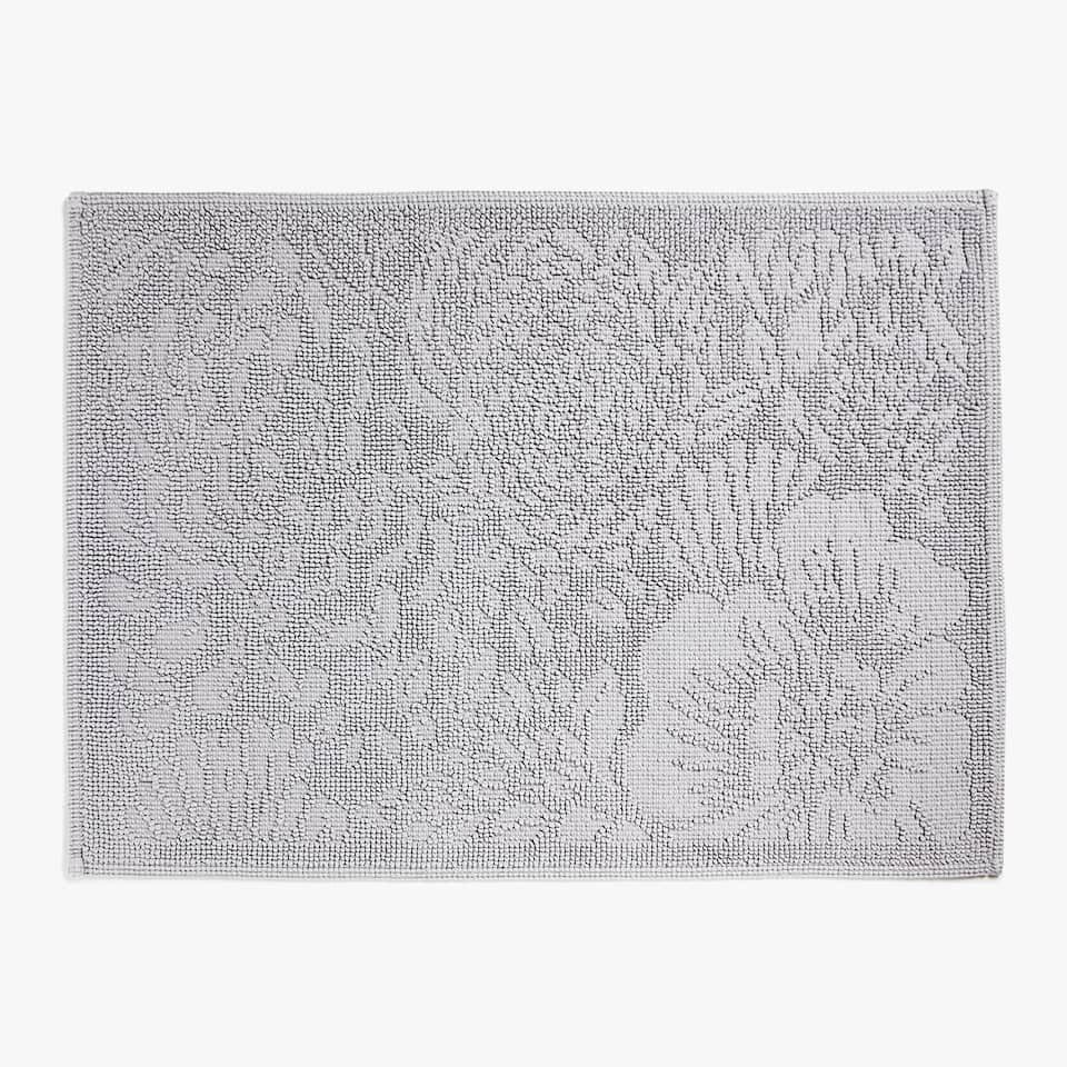 REVERSIBLE FLORAL PRINT COTTON BATH MAT
