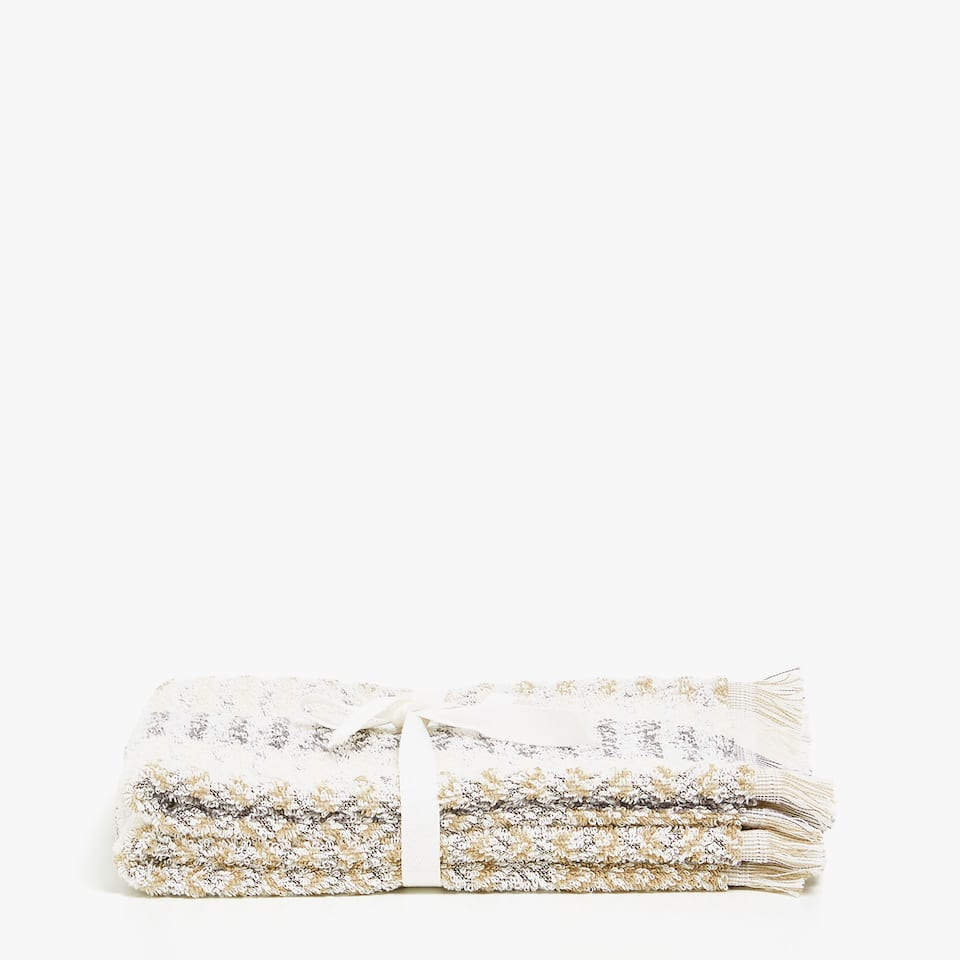 JACQUARD COTTON TOWEL WITH MULTICOLOURED STRIPES AND FRINGE (SET OF 2)