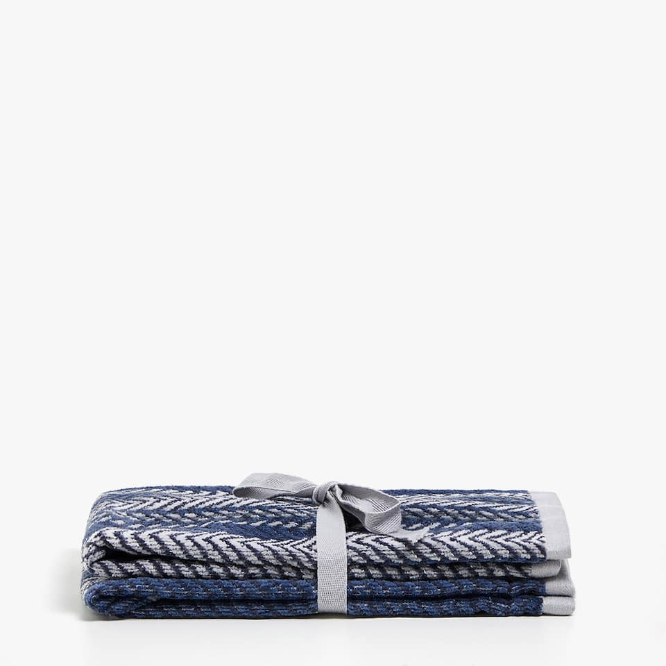 VELVETY COTTON TOWEL WITH MULTIPLE JACQUARD STRIPES (SET OF 2)