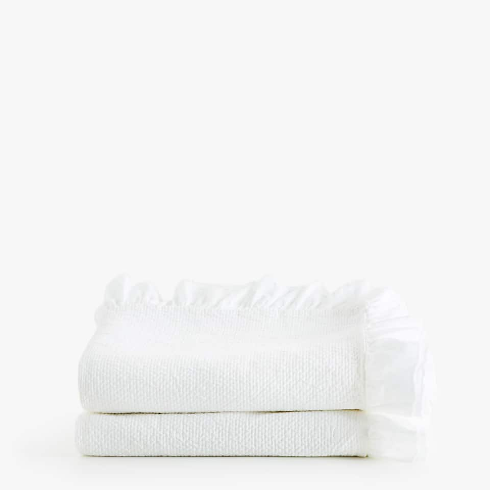 COTTON BEDSPREAD WITH DOUBLE FRILL