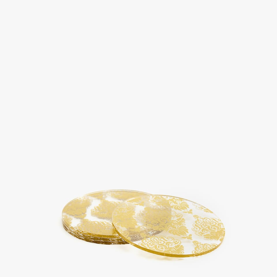 Methacrylate coaster with gold motif (set of 4)