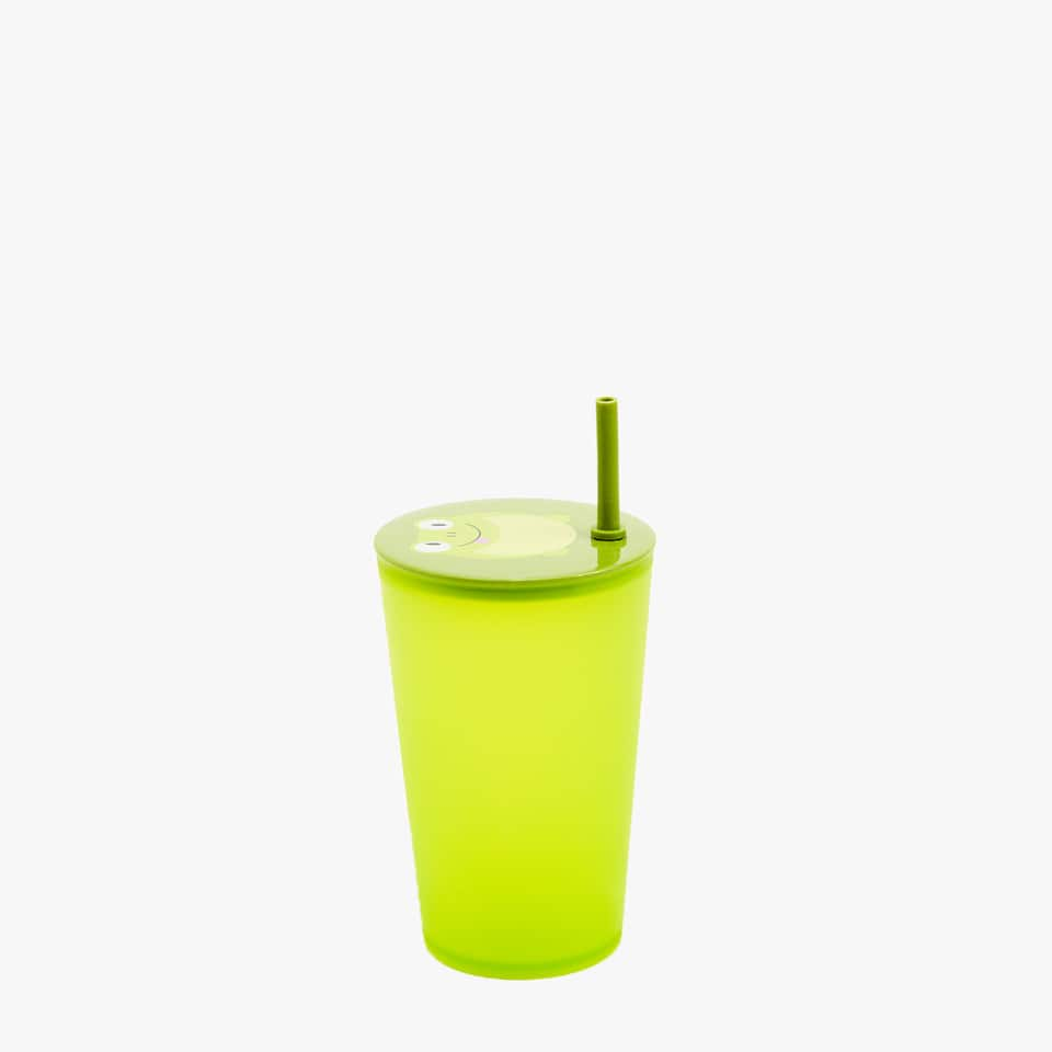 Frog print glass with lid and straw