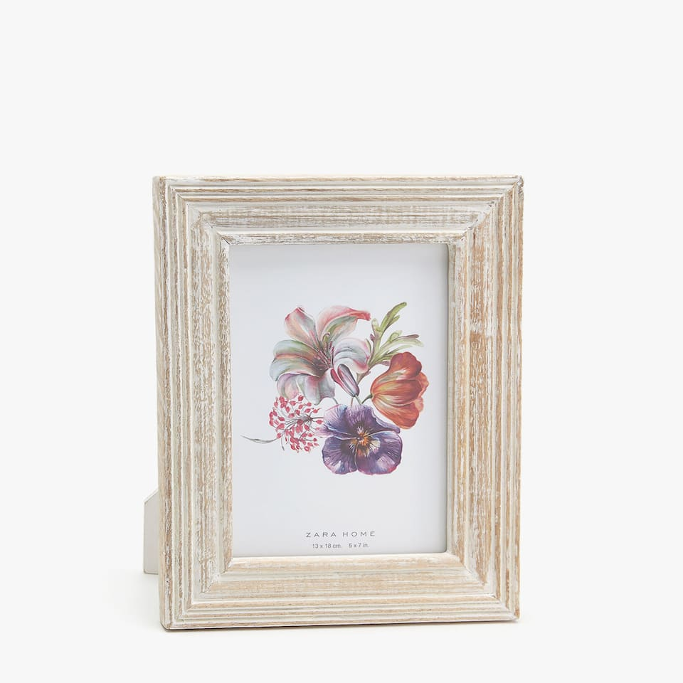 WHITE WOODEN FRAME WITH ANTIQUE FINISH