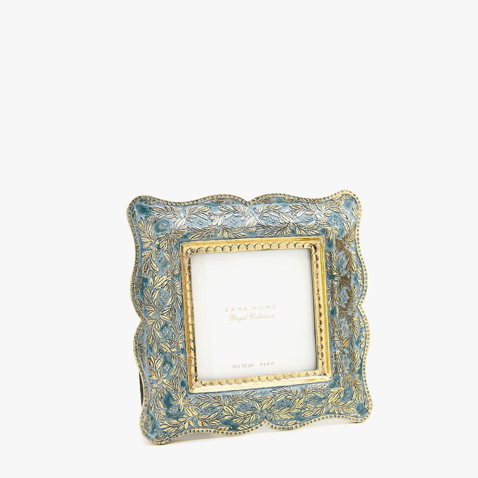 Square emerald and gold frame