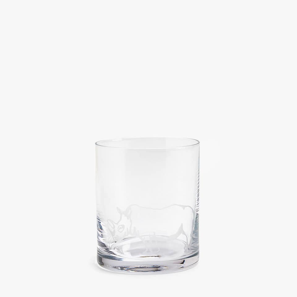 VASO WHISKEY RHINOCEROS CRISTALIN