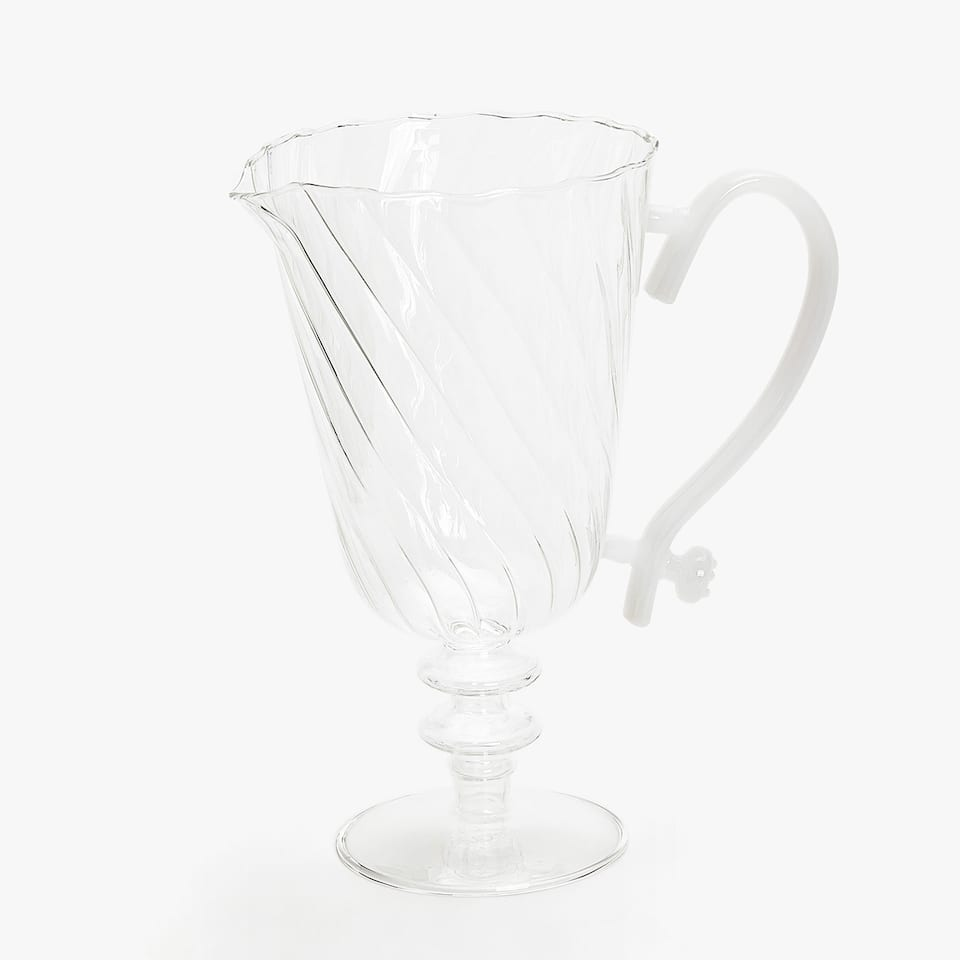 BOROSILICATE PITCHER WITH WHITE WAVY TRANSFER