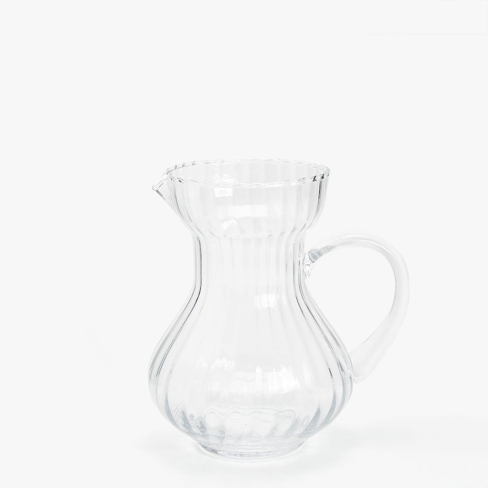RAISED WAVY GLASS PITCHER