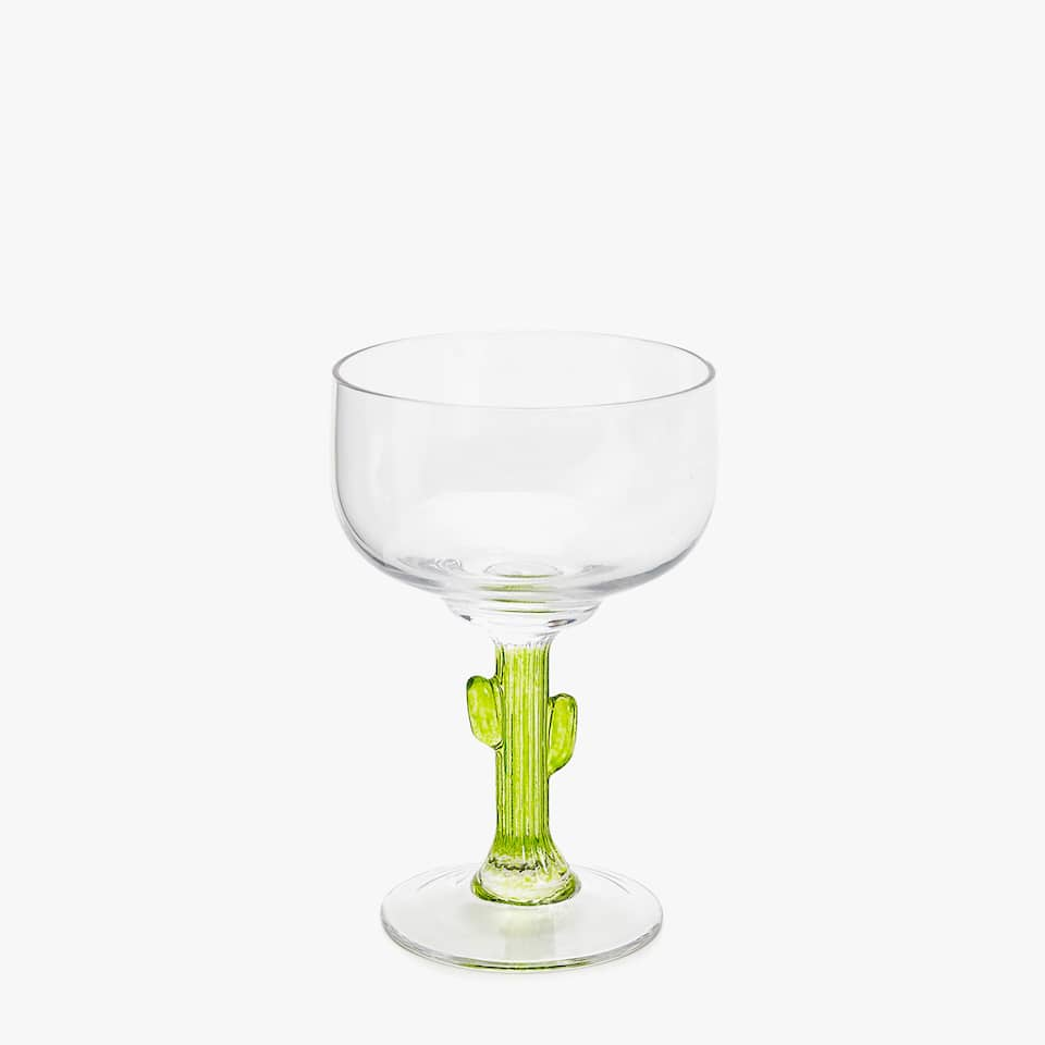 WINE GLASS WITH GREEN LEAVES ON STEM