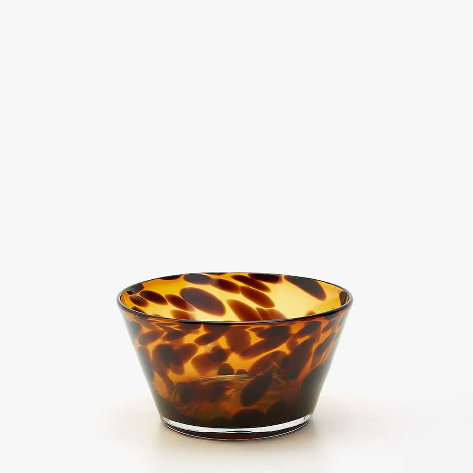 LEOPARD MOTIF GLASS BOWL