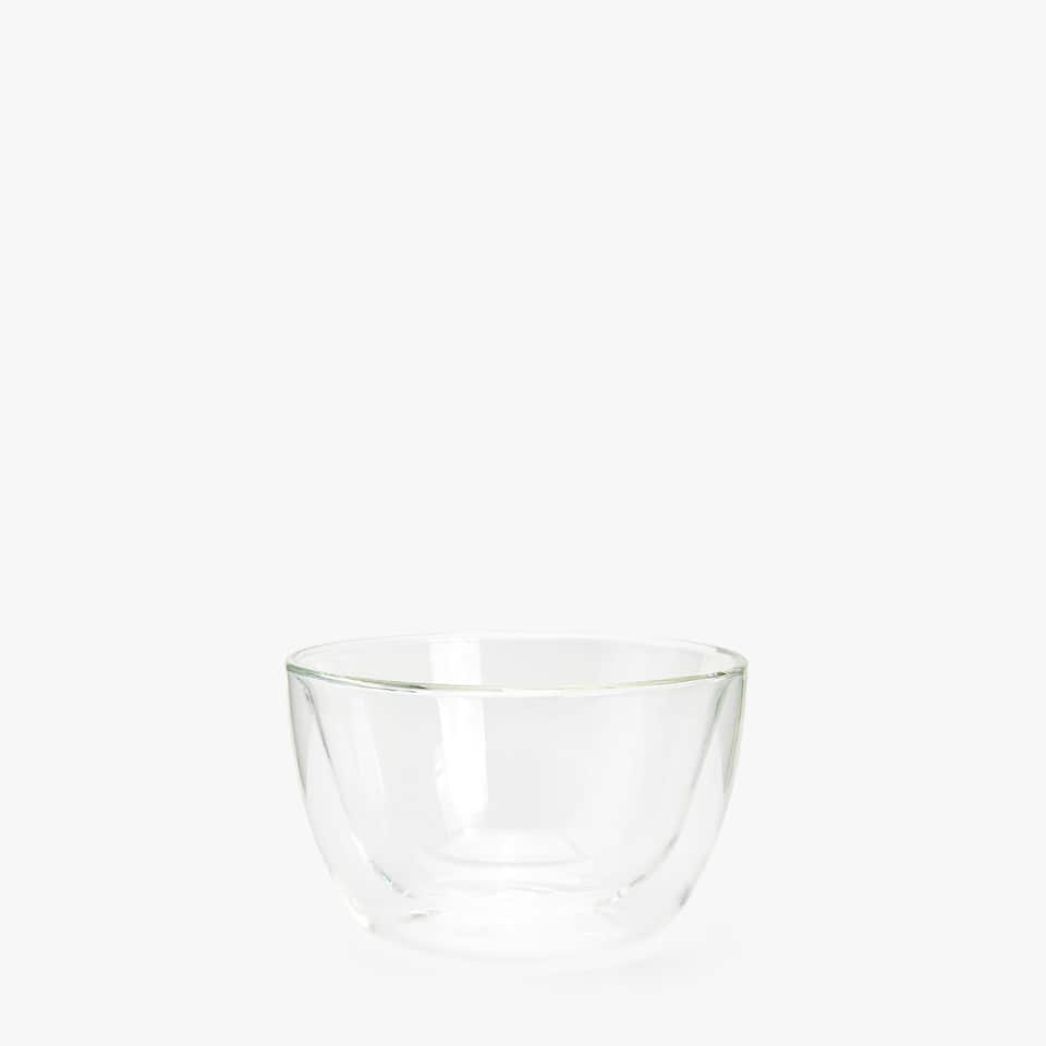 BOROSILICATE GLASS BOWL WITH DOUBLE INTERIOR DESIGN