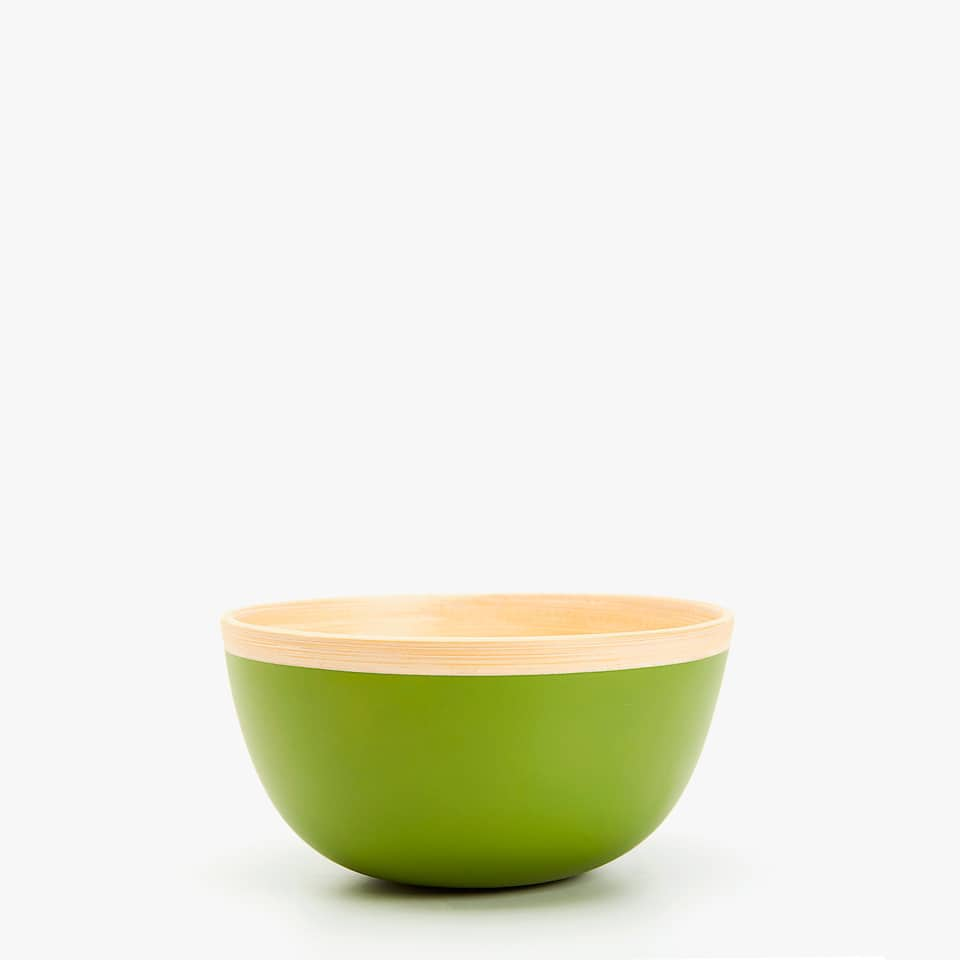 BAMBOO BOWL WITH LACQUERED EXTERIOR
