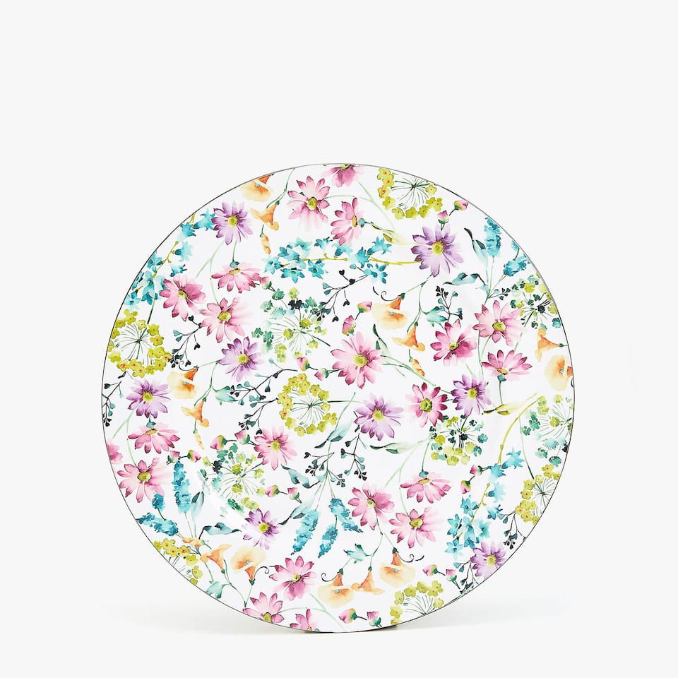 PLASTIC MULTICOLOURED FLORAL PLATE CHARGER