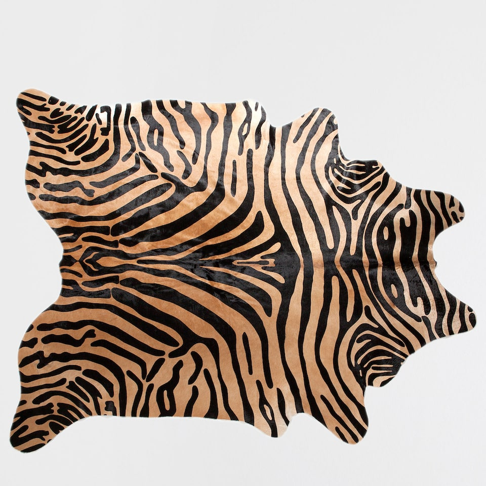 ZEBRA-PRINT LEATHER RUG