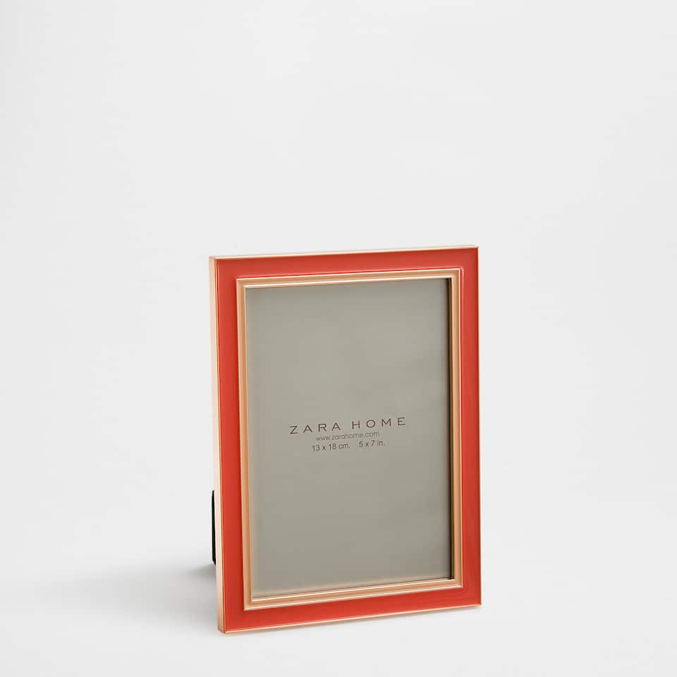 Bright coral resin-finish metal frame
