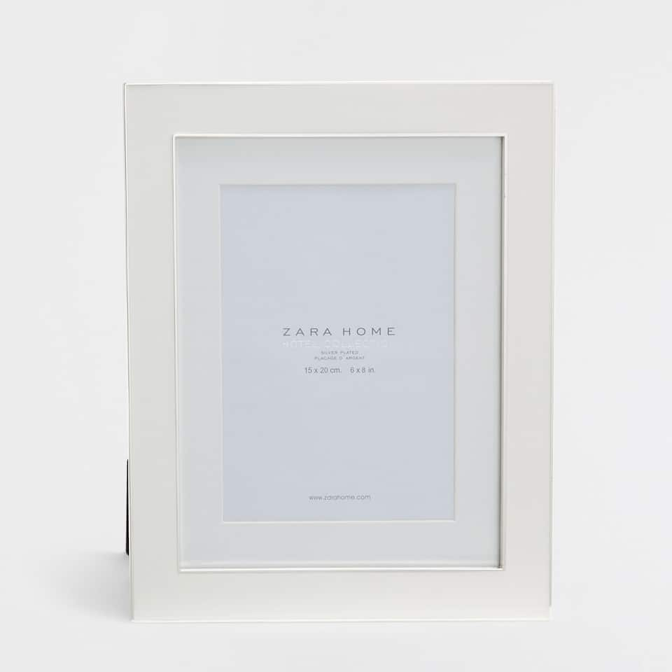 White enamel frame with a wide edge