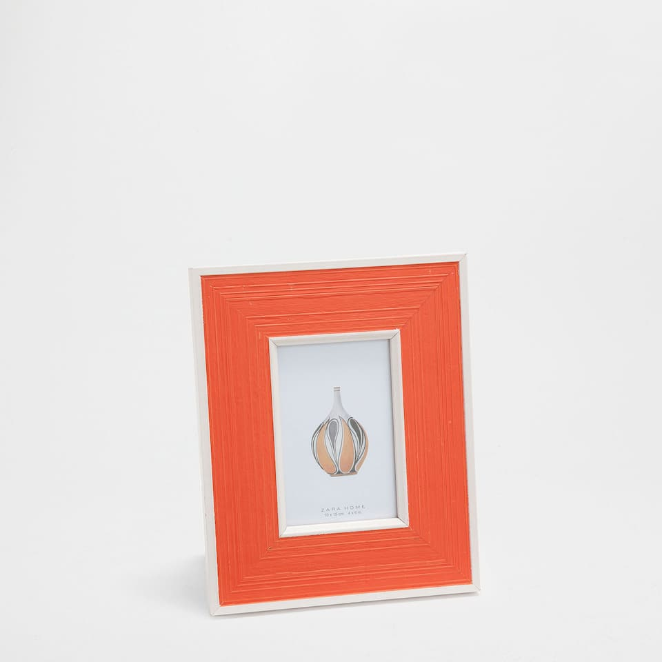 Orange and white wooden frame