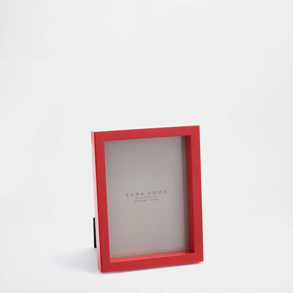 Coral lacquered wooden frame