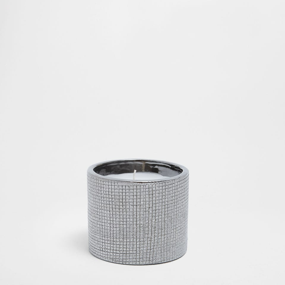 Silver ceramic candle holder