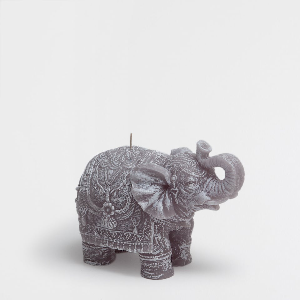 Grey elephant-shaped candle