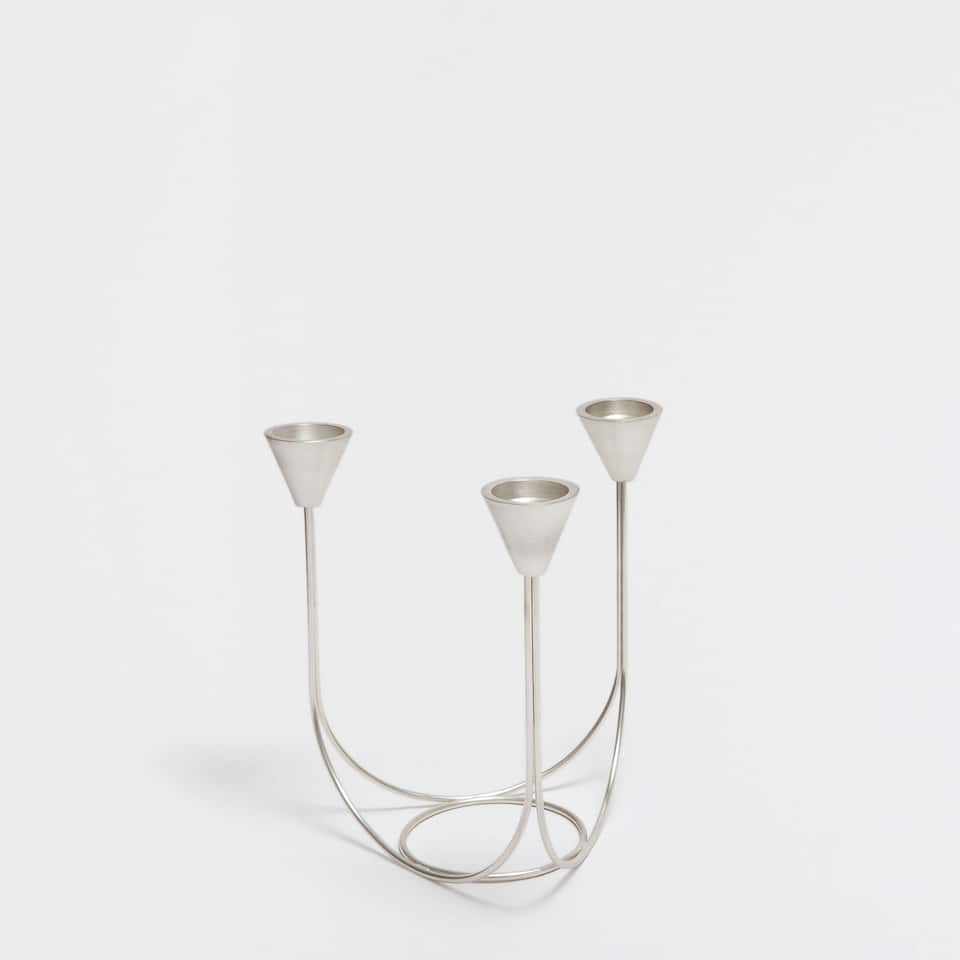 SILVER-COLOURED STEEL CANDELABRA
