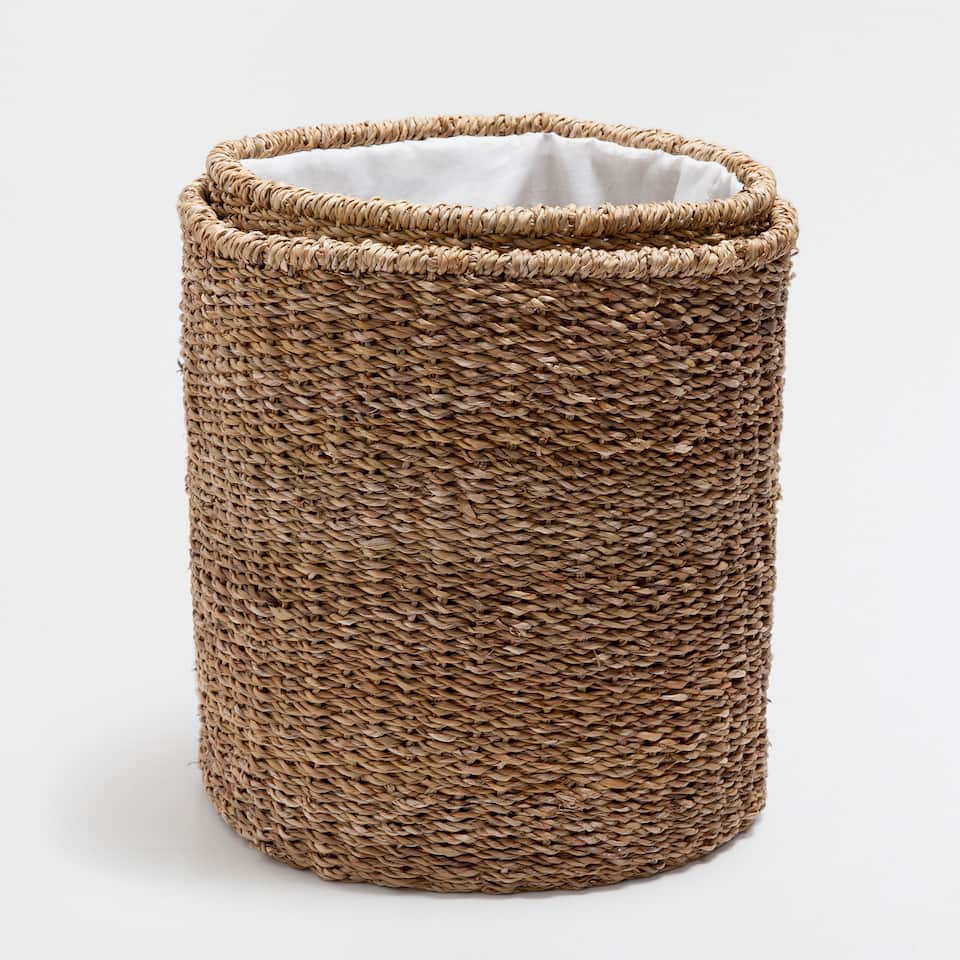 PLANT-FIBRE CLOTHES BASKET