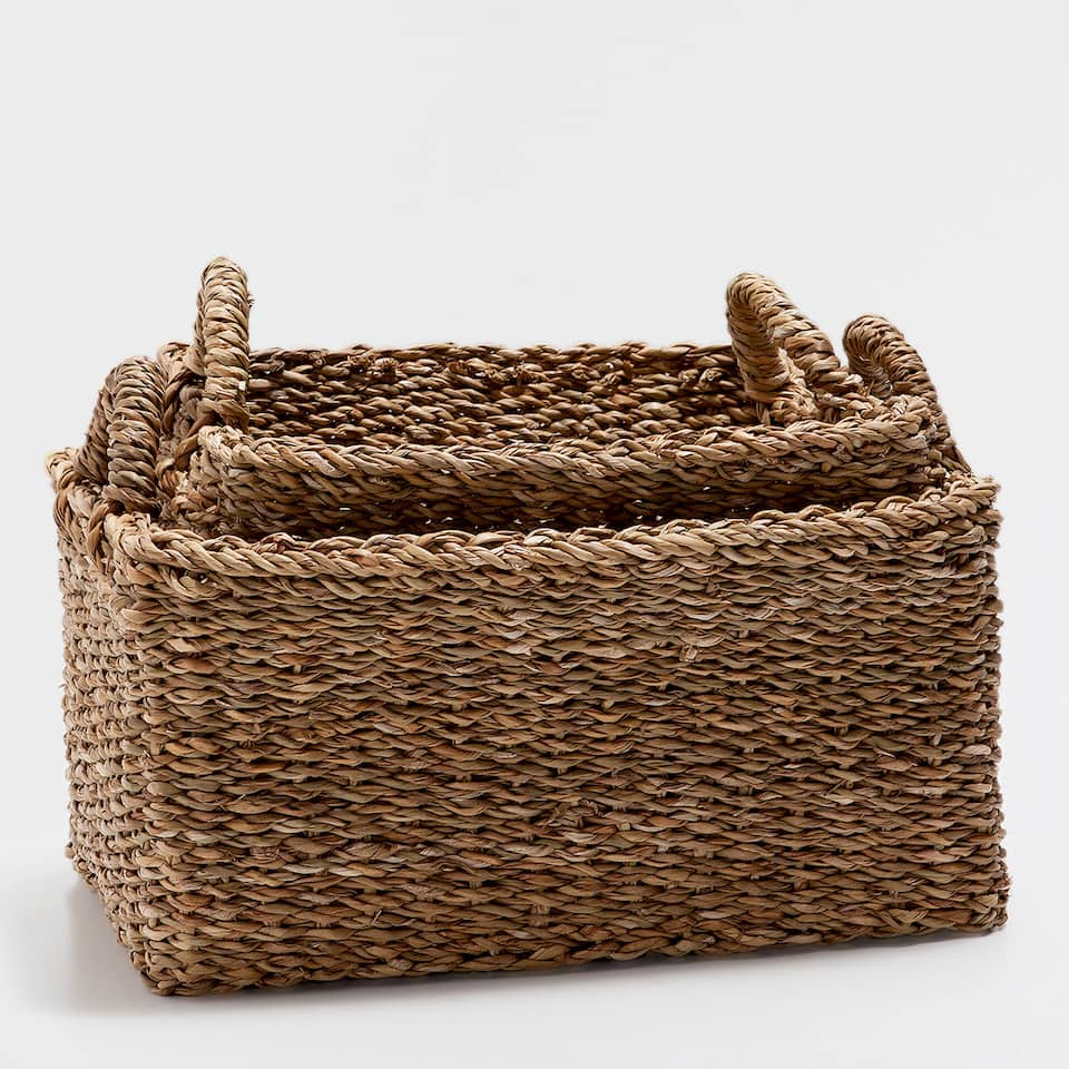 RECTANGULAR PLANT-FIBRE BASKET