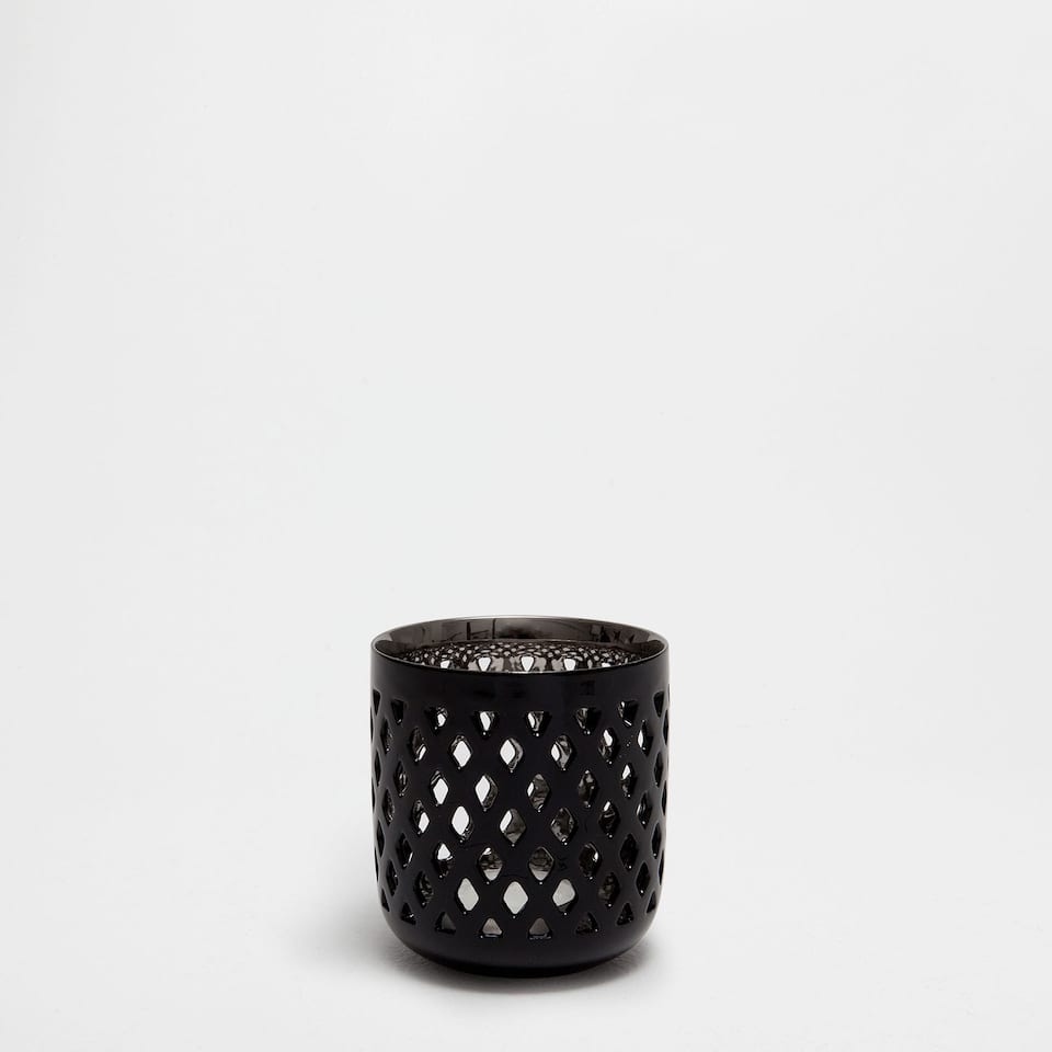 BLACK AND SILVER PERFORATED CERAMIC CANDLEHOLDER
