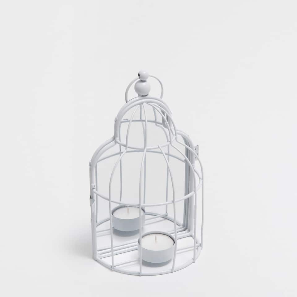 WHITE CAGE CANDLEHOLDER WITH A MIRROR