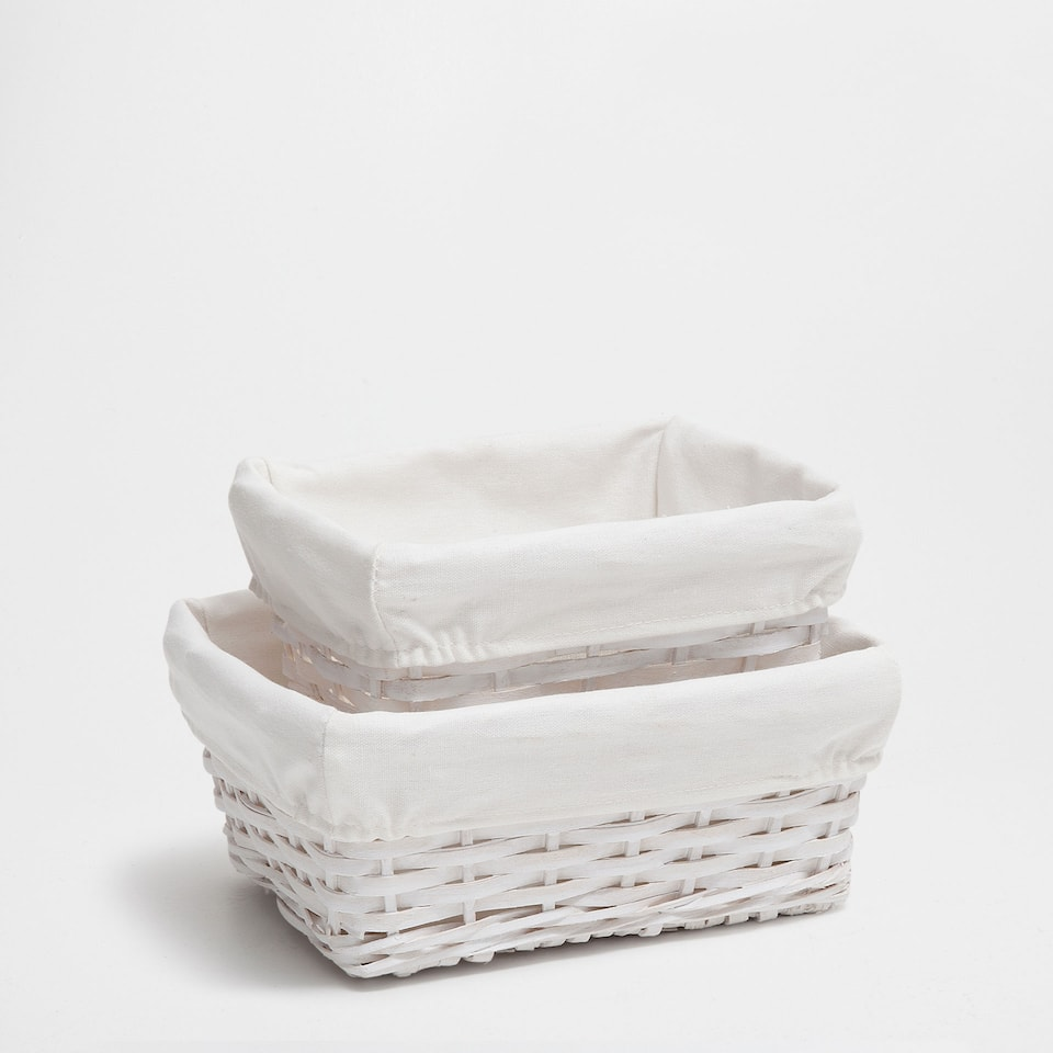 WHITE PLAITED BASKET (SET OF 2)