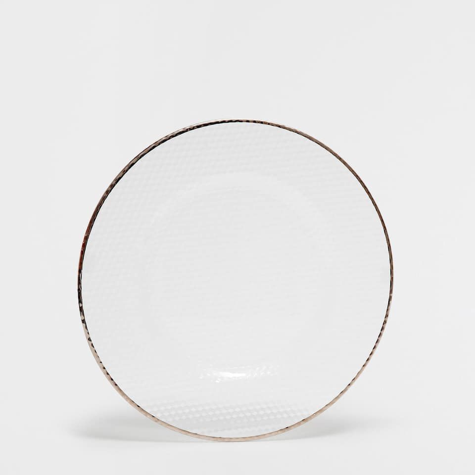 Glass plate charger with silver rim