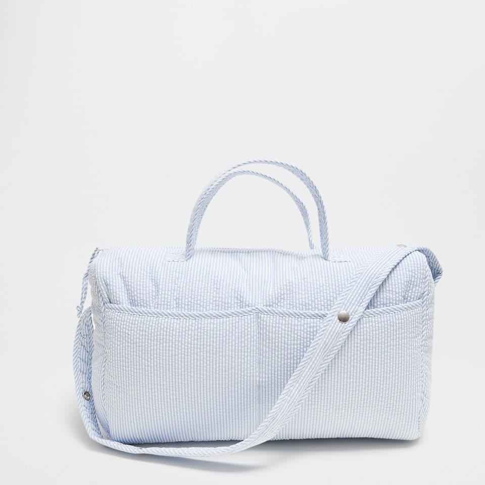 Blue seersucker percale maternity bag
