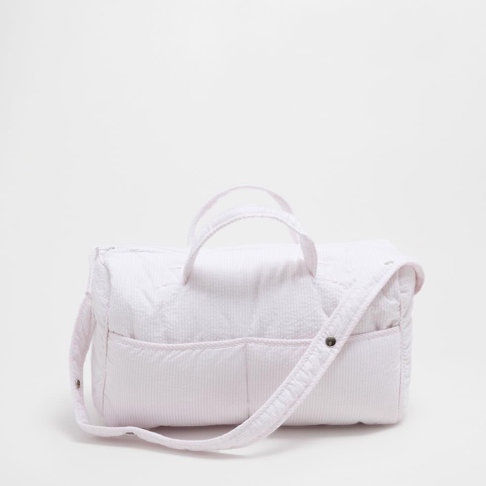 Pink seersucker percale maternity bag