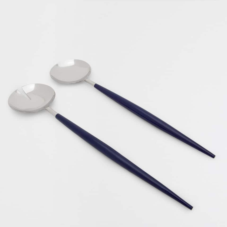 Steel and blue wood servers (set of 2)