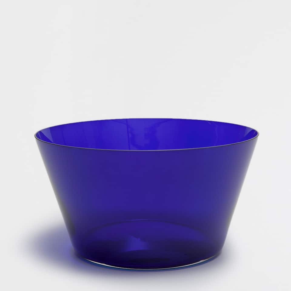 Blue glass salad bowl