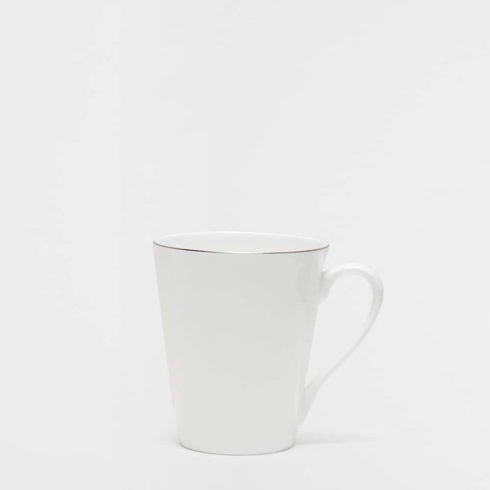 Silver rim bone china mug